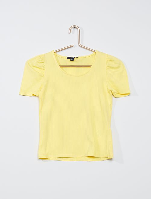 T-shirt manches ballon                             jaune