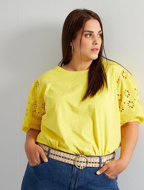 T-shirt manches bouffantes                                         jaune