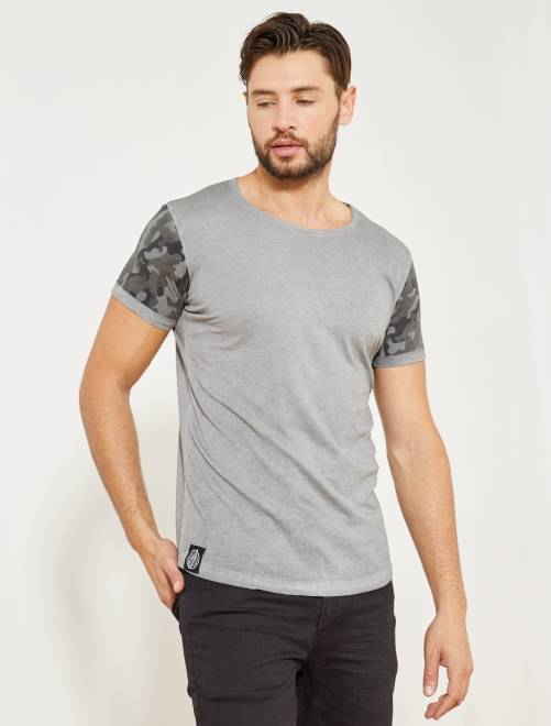 t shirt manches camouflage homme gris kiabi 12 00. Black Bedroom Furniture Sets. Home Design Ideas