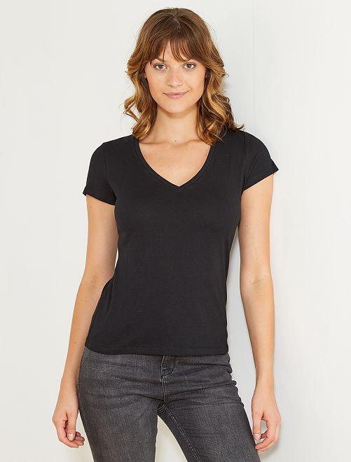 T-shirt manches courtes col V                                                     noir Femme