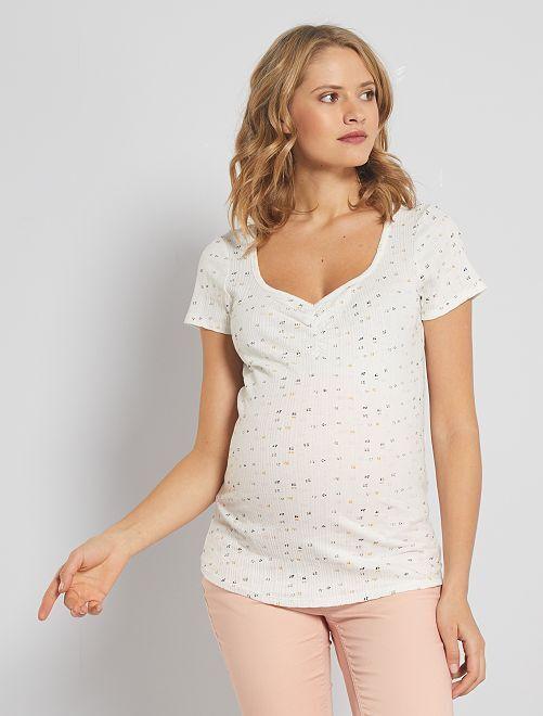 T-shirt manches courtes pointelle                                         blanc