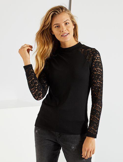 T-shirt manches dentelles 'JDY'                                         noir