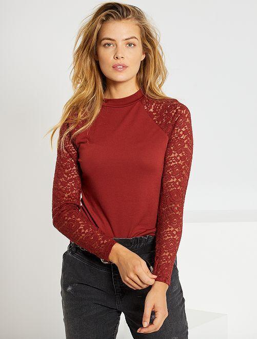 T-shirt manches dentelles 'JDY'                             rouge