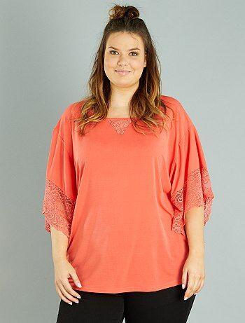 Grande taille femme - T-shirt manches effet kimono - Kiabi