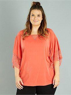 T-shirt, débardeur rose - T-shirt manches effet kimono - Kiabi