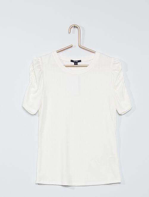 T-shirt manches gigot                             blanc