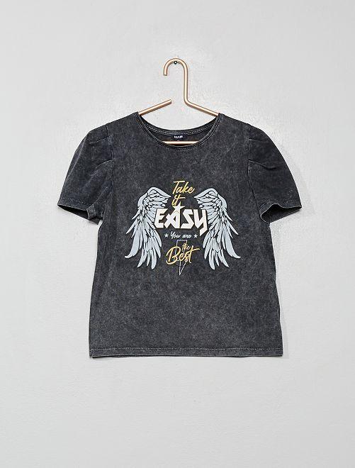 T-shirt manches gigot imprimé 'rock'                                         gris