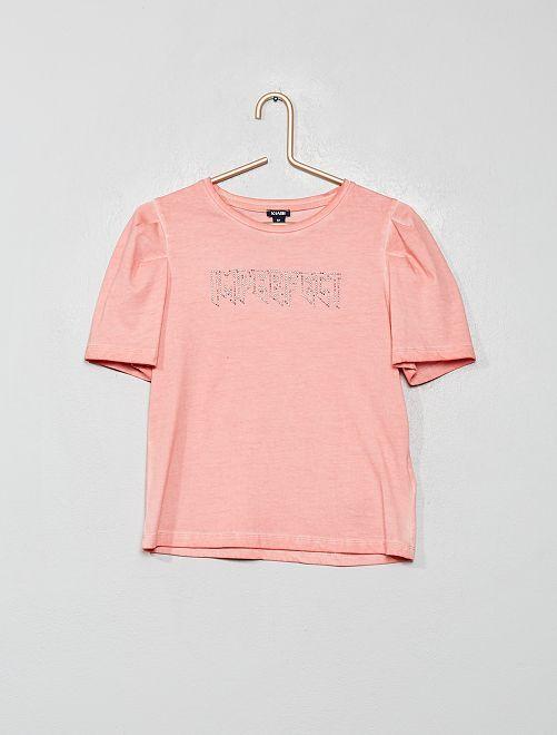 T-shirt manches gigot imprimé 'rock'                                         pêche