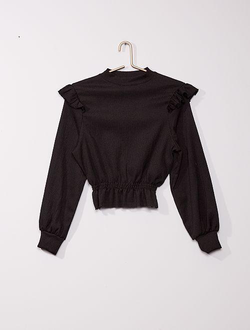 T-shirt manches longues à volants                                         noir