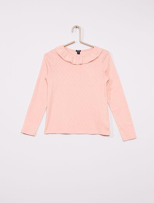 T-shirt manches longues avec collerette                             rose
