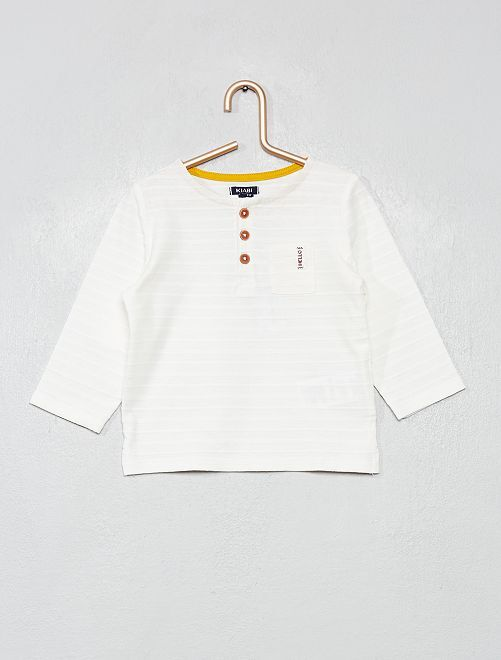 T-shirt manches longues col tunisien                                         blanc
