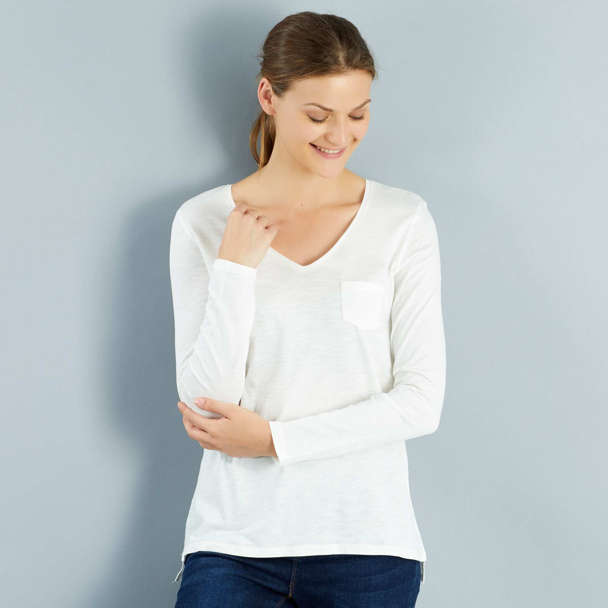 Couleur : noir, marine, écru,gris chiné, - Taille : XL, M, L,S,Un t-shirt manches longues basique à adopter en plusieurs couleurs ! - Tee-shirt en