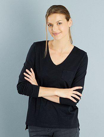 Femme du 34 au 48 - T-shirt manches longues col V maille flammée - f79862b8df46
