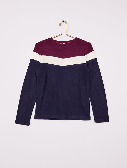 T-shirt manches longues colorblock                                         bleu marine
