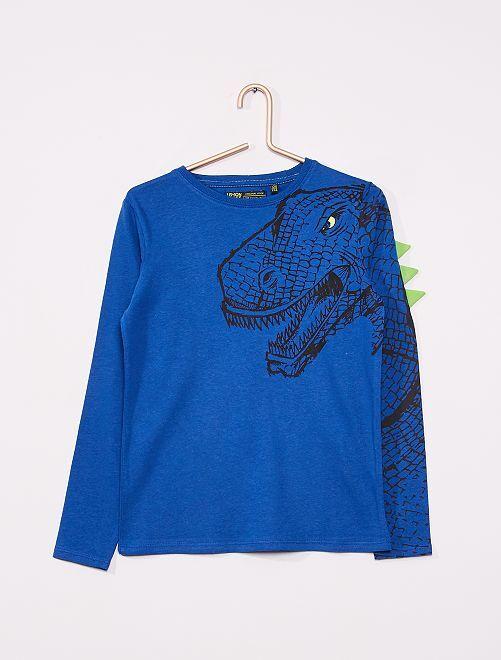 T-shirt manches longues 'dinosaure'                     bleu
