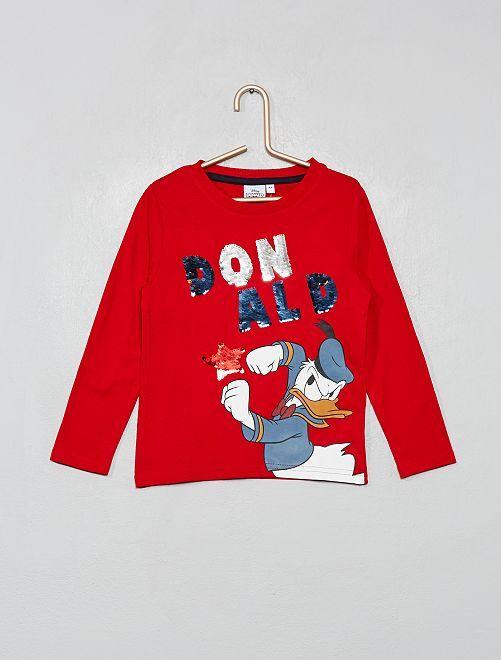T-shirt manches longues 'Donald' sequins réversibl                                         rouge