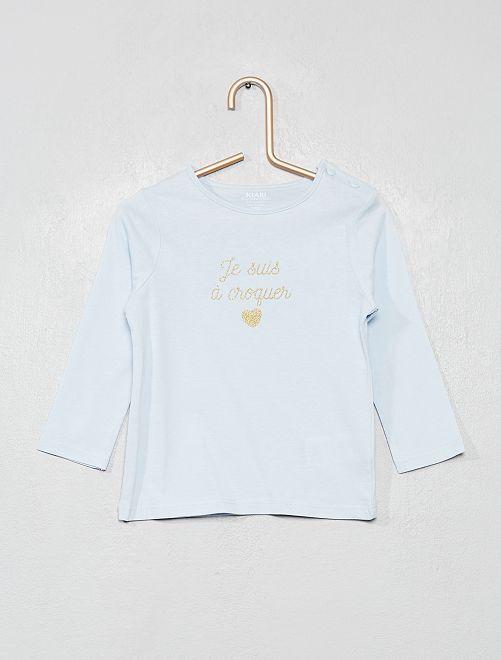 T-shirt manches longues 'éco-conception'                                                                                         bleu clair