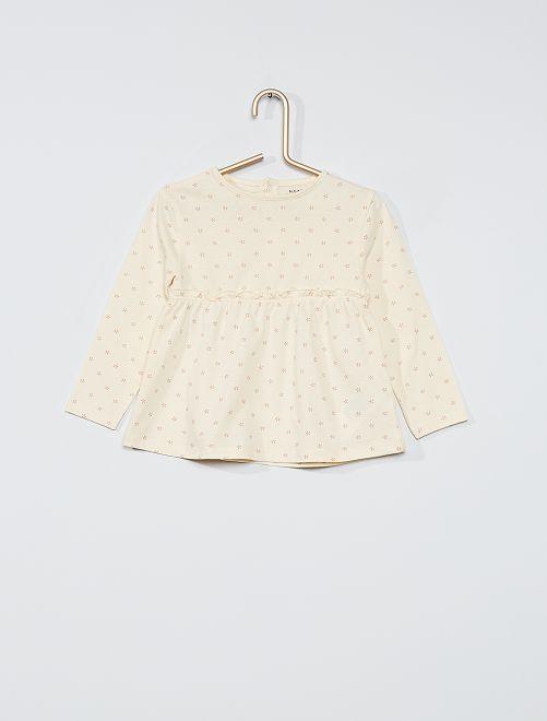 T-shirt manches longues éco-conçu                                                                             beige/fleuri