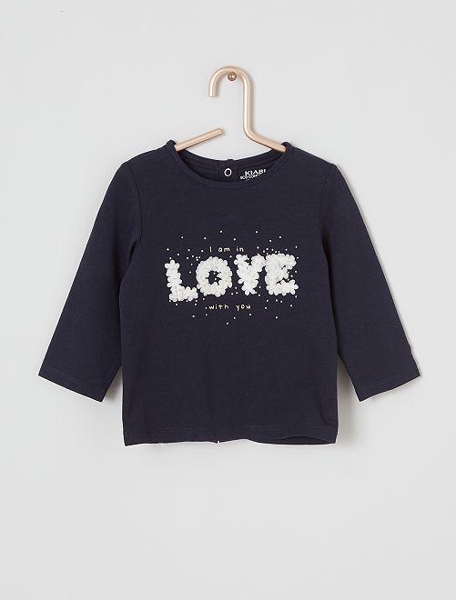 T-shirt manches longues éco-conçu                                                     bleu love