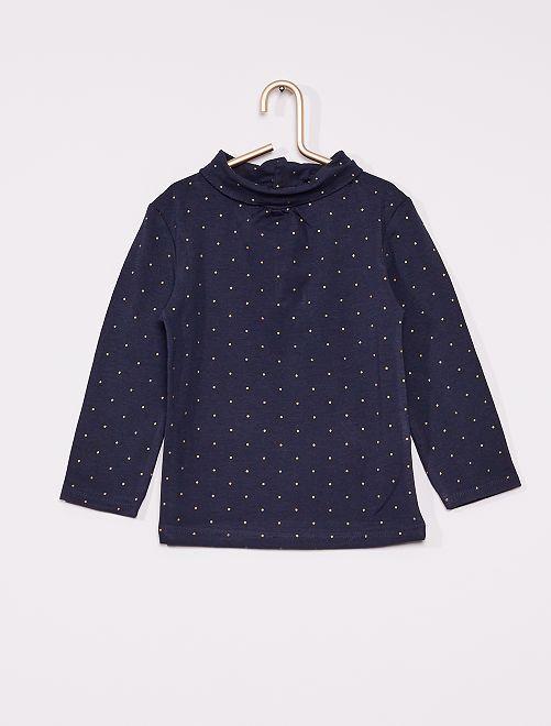 T-shirt manches longues éco-conçu                                                                             bleu pois