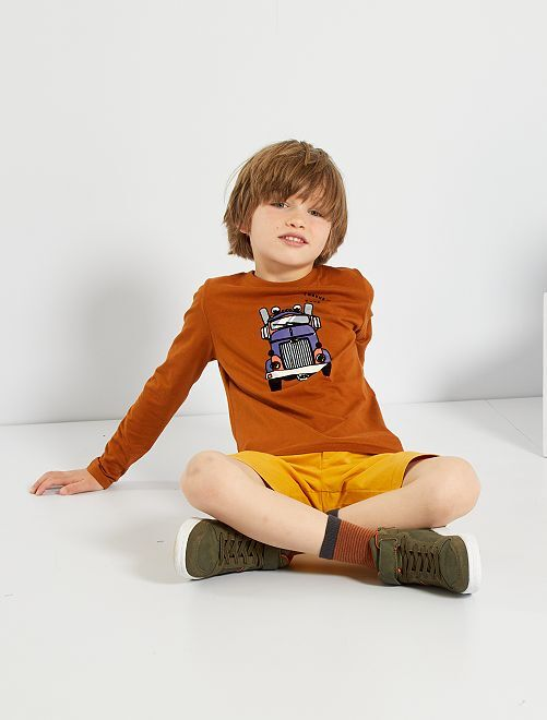 T-shirt manches longues éco-conçu                                                                             marron