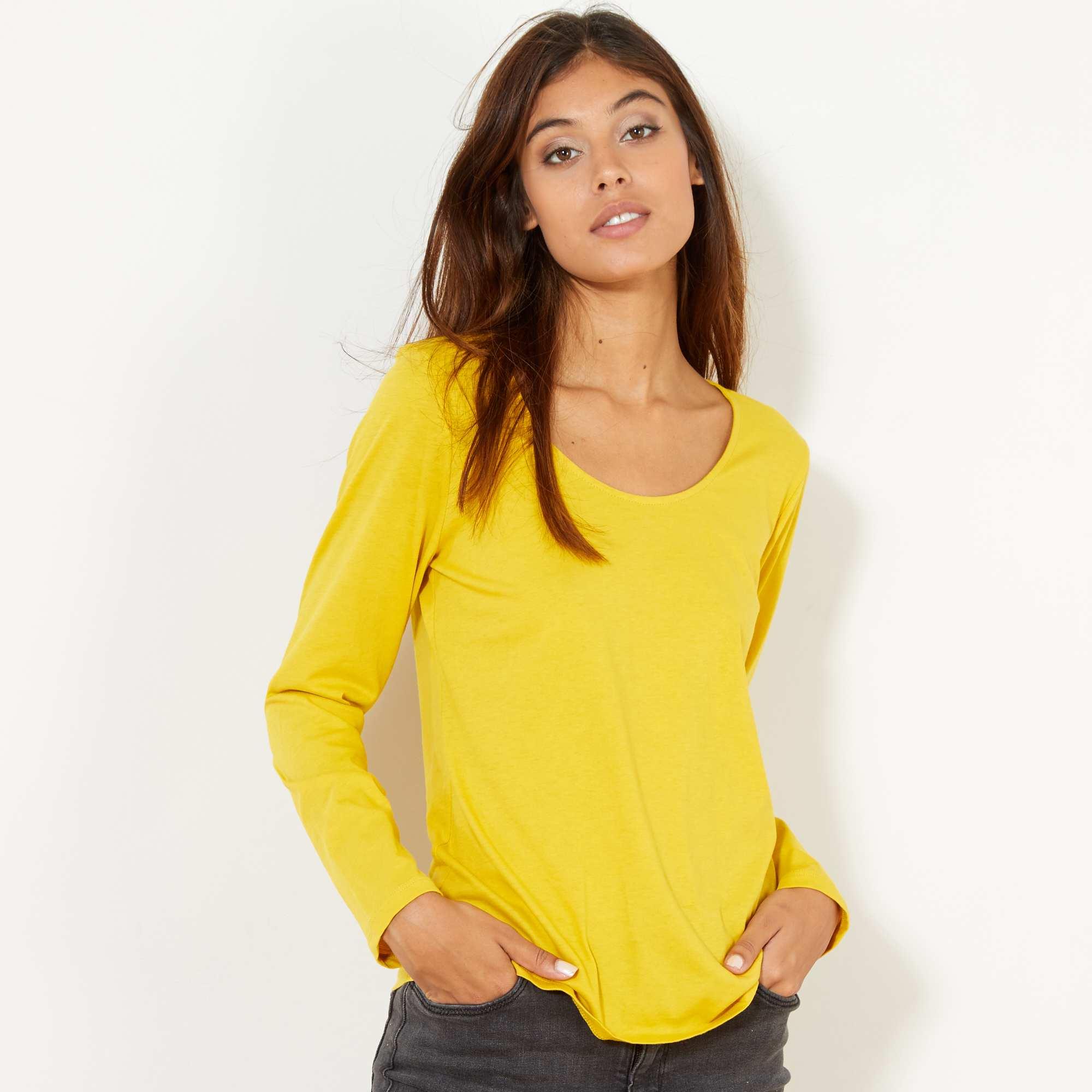 Couleur : gris clair, jaune cury, blanc,noir,bleu clair - Taille : L, M, XL,S,Un essentiel à petit prix, décliné dans de nombreux coloris ! - Tee-shirt en jersey