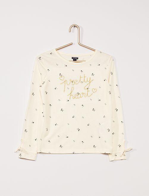 T-shirt manches longues fleuri                             BEIGE