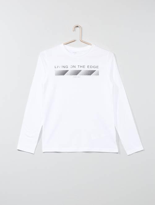 T-shirt manches longues imprimé                                                                                                     blanc Garçon adolescent