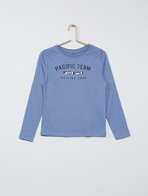 T-shirt manches longues imprimé marin                                         bleu