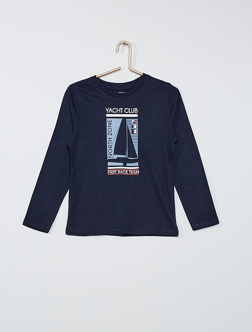 T-shirt manches longues imprimé marin                                         marine