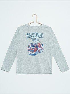 Garçon 3-12 ans T-shirt manches longues imprimé pur coton