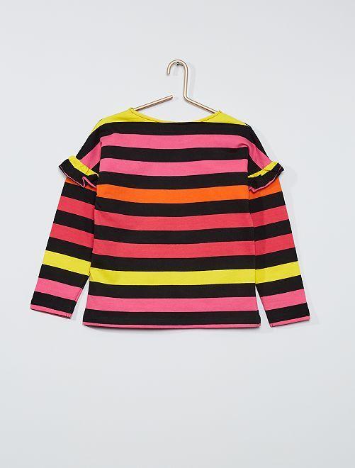 T-shirt manches longues 'Little Marcel'                             rose/jaune/orange