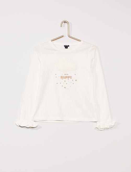 T-shirt manches longues ludique                                                     blanc