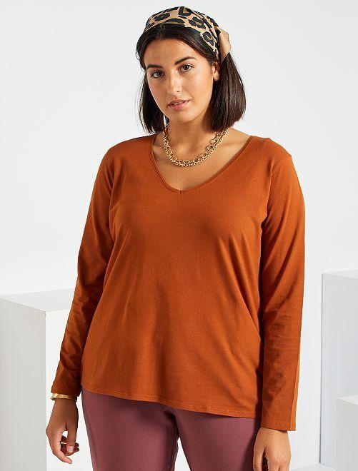 T-shirt manches longues                                                                                                     marron orangé