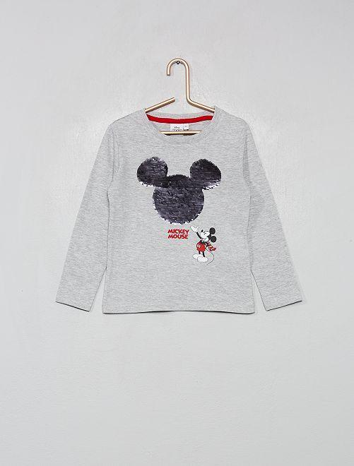 T-shirt manches longues 'Mickey' sequins réversibl                                         gris
