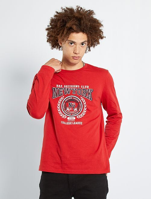 T-shirt manches longues 'New York'                                         rouge