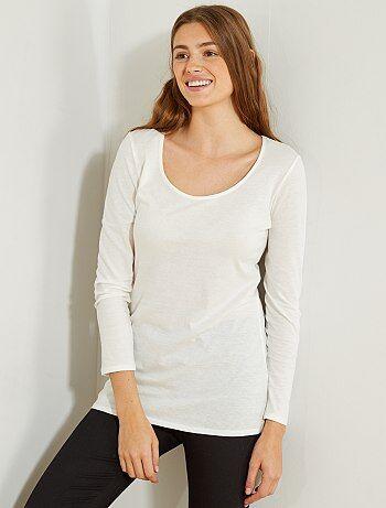 Femme du 34 au 48 - T-shirt manches longues pur coton - Kiabi