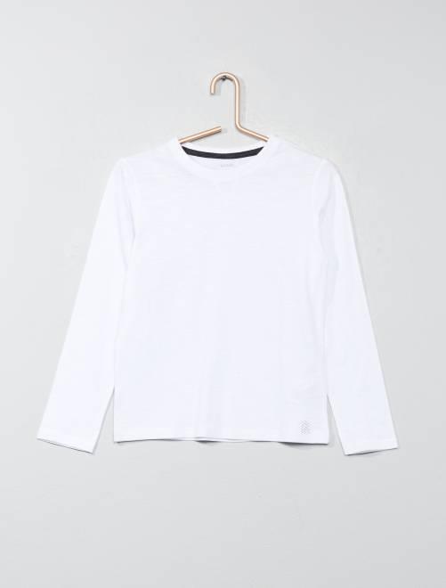 T-shirt manches longues pur coton                                                                                                     blanc