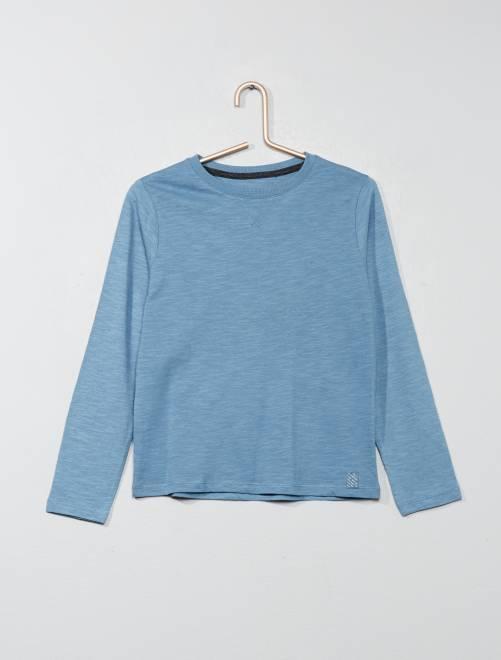 T-shirt manches longues pur coton                                                                                                     bleu clair