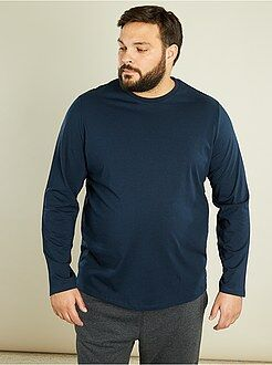 Grande taille homme T-shirt manches longues pur coton