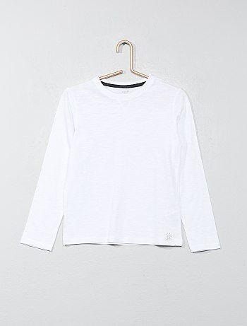 Le basique agréable à porter ! - Tee-shirt en pur coton - Col rond avec détails de modestie - Manches longues - Uni