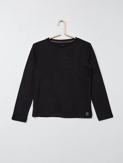 T-shirt manches longues pur coton                                                                                                     noir