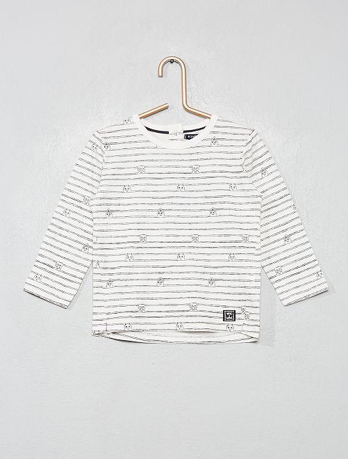 T-shirt manches longues 'robot'                                         blanc imprimé