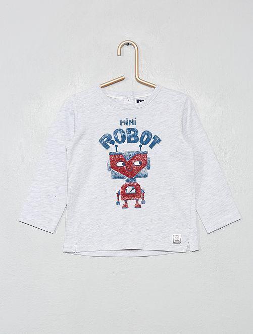 T-shirt manches longues 'robot'                             gris