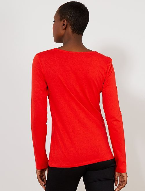 db6de9df16b T-shirt manches longues Femme - rouge - Kiabi - 4