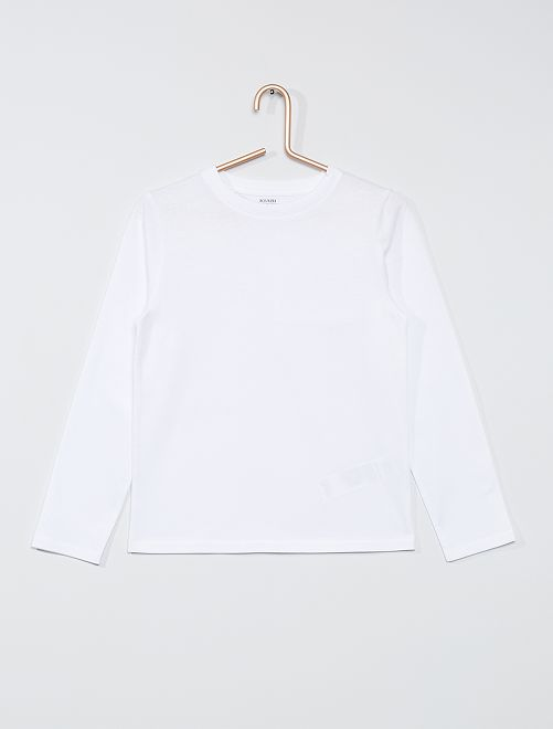 T-shirt manches longues uni                                                                 blanc