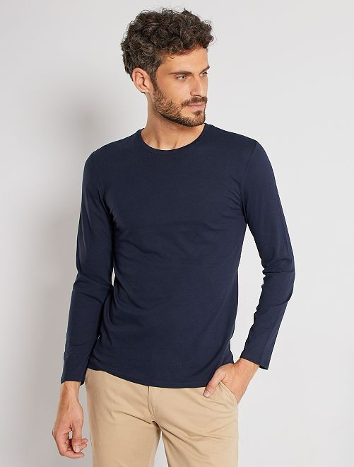 T-shirt manches longues uni                                                                 bleu marine