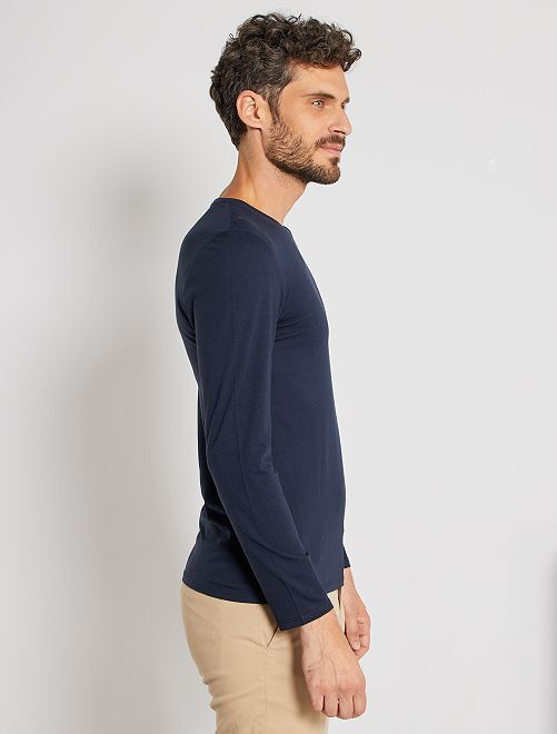 cdf45f8dacd35 T-shirt manches longues uni Homme - bleu marine - Kiabi - 4,00€