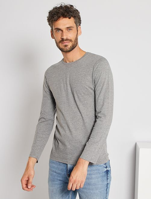 T-shirt manches longues uni                                                         gris chiné Homme