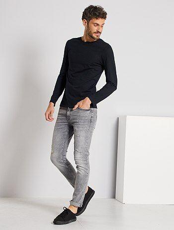 T-shirt manches longues uni - Kiabi